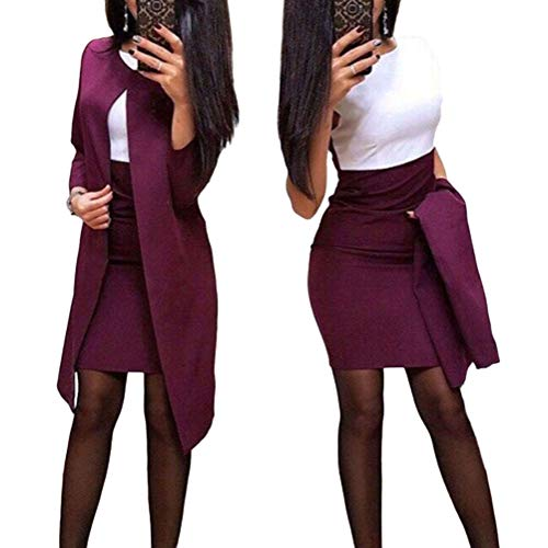 Minetom Damen Langarm Bodycon Mini Kleid und Jacke Langer Mantel 2 Stücke Herbst Winter Elegant Sexy Büro Party Cocktail Business Abendkleid Bleistftkleid B Rot 38