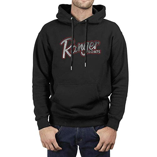 Black Hoodie for Man Ranger-Boats-Distressed-Boat-Trailer-Parts- Funny Long Sleeve Active with Kangaroo Pocket Pullover Sweatshirts