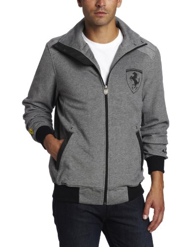 PUMA Men's Ferrari Sweat Jacket, Black/Vapor Blue, Large