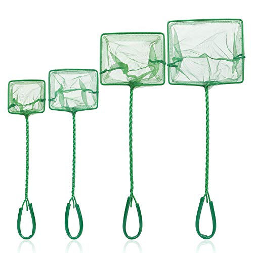Tugaizi Aquarium Fish Net Fine Quick Catch Mesh Nylon Fishing Catch Nets with Plastic Handle - Green...