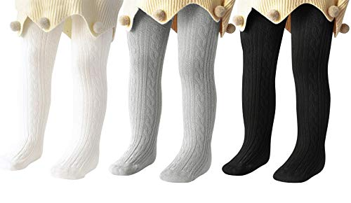 Century Star Baby Tights For Girls Soft Cotton Infant Leggings Toddler Solid Knit Socks Warm Stockings Newborn Pants White Black Gray 0-8 Month