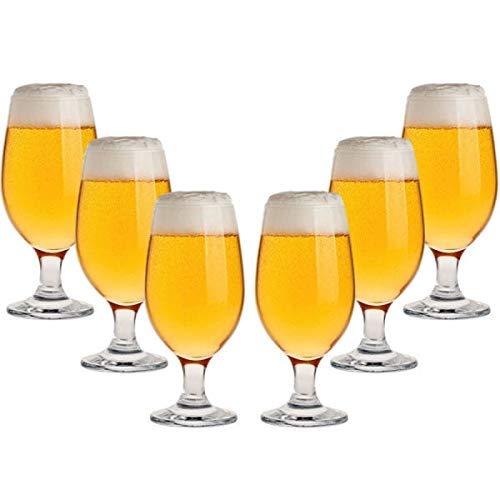 ZAR Blumian - Copas Cerveza 37 cl. Pack de 6 Unidades. Vaso de Cristal para Cocktails y Combinados. Vaso para Tercio.