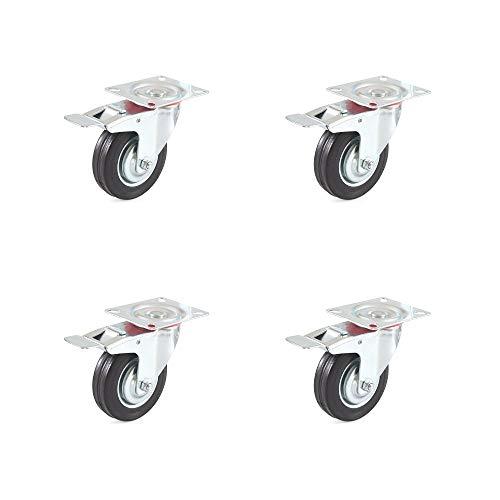Transportrollen Set 4 Lenkrollen mit Bremse Vollgummirollen Industrierollen 100 mm