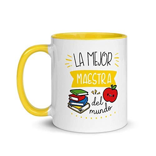 Kembilove Taza de Desayuno de la Mejor Maestra del Mundo – Tazas de Café para Profesionales y Trabajadores para la Oficina – Tazas de Té de Color de Profesiones – Taza de Cerámica de 350 ml