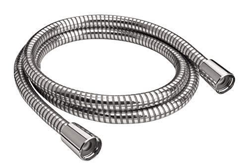 'aquaSu® Brauseschlauch Valida   200 cm Länge   mit Knickschutz   zugfest   Standard-Anschluss in 1/2   mit Konus & Rändelmutter   chrom-transparent   aus Kunststoff   Duschschlauch 2 m   72240 7