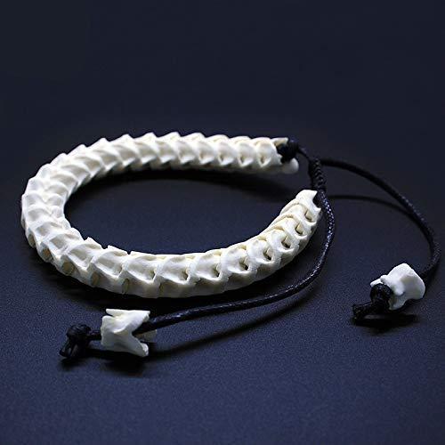 VPlus Tailandia 100% natural de hueso de serpiente, pulsera ajustable, personalizable, diseño de hueso de la vendimia, hecha a mano, para mujeres o hombres, regalo de cumpleaños o Navidad, recuerdo