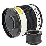 Bigking Teleobiettivo, Resistente 500 mm f/6.3 Teleobiettivo a Specchio per Fotocamera mirrorless Bianca(con T2-NEX per Sony Micro Single)