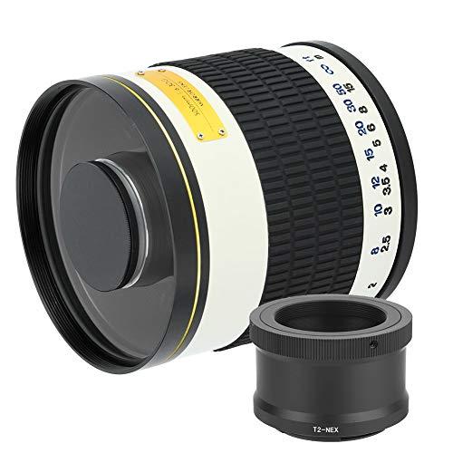 望遠レンズ、ミラーレスカメラ用の耐久性のある500mm f 6.3望遠ミラーレンズホワイト(T2-NEXアダプターリング)