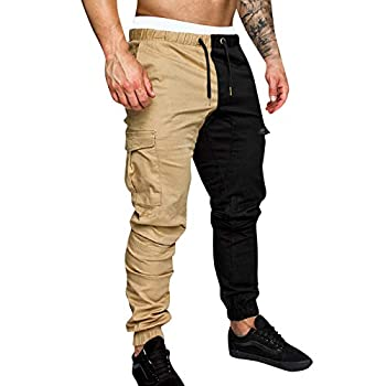 Forthery-Men Joggers Pants Color Block Patchwork Sports Side Stripe Active Gym Running Street Style Workout Sweatpants Khaki,XXL
