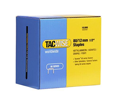 Tacwise 0384 Grapas galvanizadas de Tipo 80/12 mm, Caja de 10.000 Unidades, Plateado, 80/12 mm