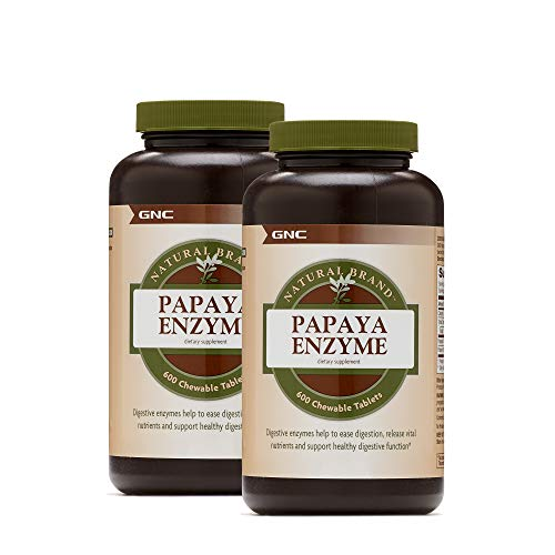GNC Natural Brand Papaya Enzyme, Twin Pack, 600 Chewable Tablets per Bottle, Helps in Digestion