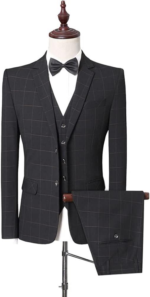 UXZDX CUJUX (Suit + Vest + Pants) Men Business Self-Cultivation Professional Formal Suit Bridegroom's Wedding Gown/Mens Suit (Color : Black, Size : L 58-62kg)