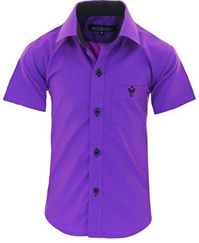 GILLSONZ A70vDa Kinder Party Hemd Freizeit Hemd bügelleicht Kurz ARM 7 Farben Gr.86-158 (128/134, Lila)