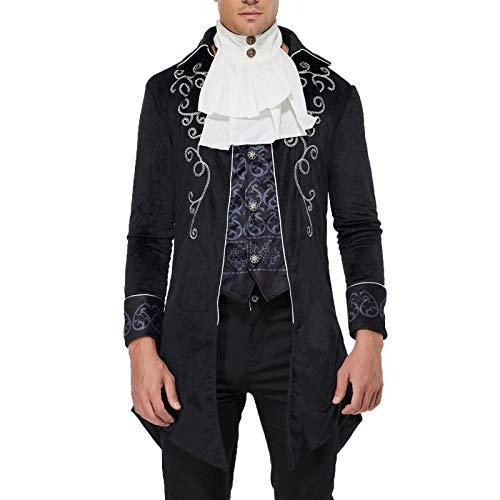 Men's Gothic Steampunk Vintage Jacket Victorian Frock Coat Uniform Halloween (Black, L)