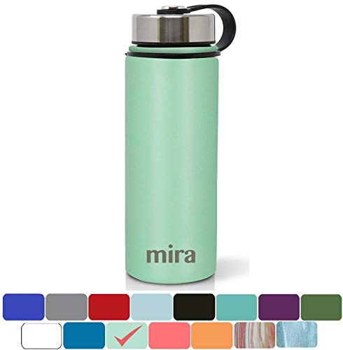 MIRA 18 Oz Stainless Steel Vacuum Insulated Wide Mouth Water Bottle with 2 Caps | Thermos Keeps Cold for 24 Hours, Hot for 12 Hours | Double Walled Powder Coated Travel Flask | Sea Foam