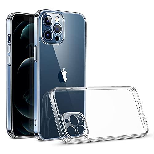 """ESR Cover Ibrida con Camera Guard PRO Compatibile con iPhone 12 PRO Max 6.7"""", Retro Resistente e Struttura Morbida, Anti Urto, Serie Sidekick, Trasparente"""