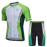 TOMSHOO Ropa de Ciclismo MTB, Traje Ciclismo Hombre, Maillots de Ciclismo Verano, Manga Corta y Pantalones Cortos con 5D...