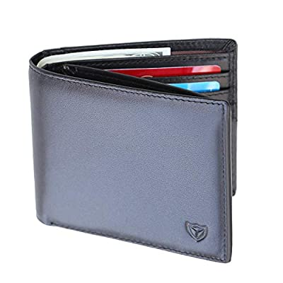 Trifold Slim Leather Men Wallet RFID Blocking Front Pocket Card Holder with 2 ID Windows by DONWORD