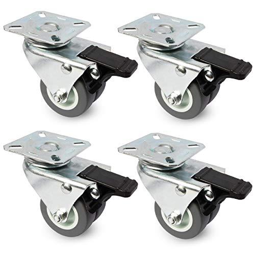 PRIOstahl Doppelrollen Set - Transportrollen, Möbelrollen, Strandkorbrollen - bis zu 100 KG pro Rolle - für Möbel, Transport von Objekten - 4 x Lenkrolle mit Bremse (50 mm, grau)