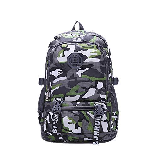 INSISTON Stilvolle Camouflage Rucksack,Coole rucksäcke Schulrucksack Jungen Teenager Lässig Tagesrucksack für Arbeit Schule Reisen Camping,Grün