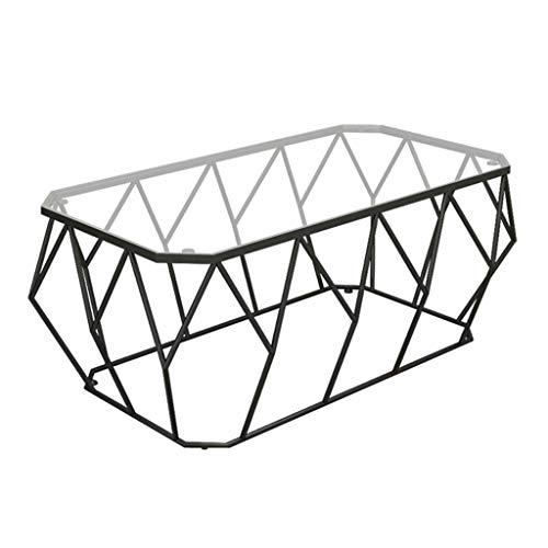 Mesa de Centro de Vidrio Templado de Moda - Mesa de Esquina Creativa Moderna - Sala de Estar Mesa de Metal con Marco de Hierro Forjado, fácil de Limpiar