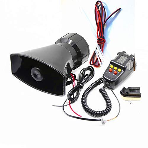 DHUILE Altavoz Siren para coche alarma Siren 12 V 80 W para coche Siren con micrófono PASpeaker System Amplificador de sonido de emergencia furgonetas camiones motosbarcos Carro de