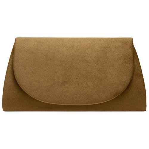 Caspar TA525 Damen elegante Textil Velours Envelope Clutch Tasche Abendtasche, Farbe:braun, Größe:Einheitsgröße
