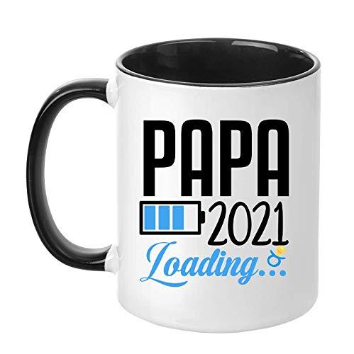 TassenTicker - 'Papa Loading 2021' - beidseitig Bedruckte Tasse - werdende Väter - Papa - Geschenk - Baby - Kind (Schwarz)