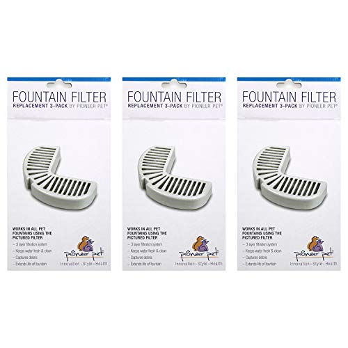 Pioneer Pet Replacement Filters for Ceramic & Stainless Steel Fountains (9 filters)