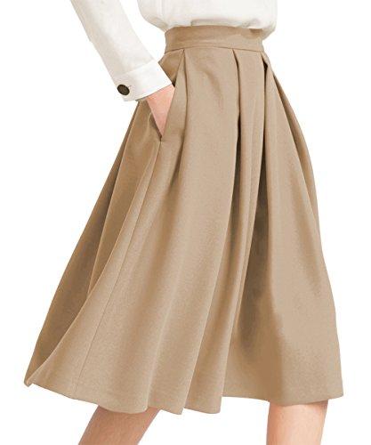 Yige Women's High Waisted A line Skirt Skater Pleated Full Midi Skirt Khaki US8