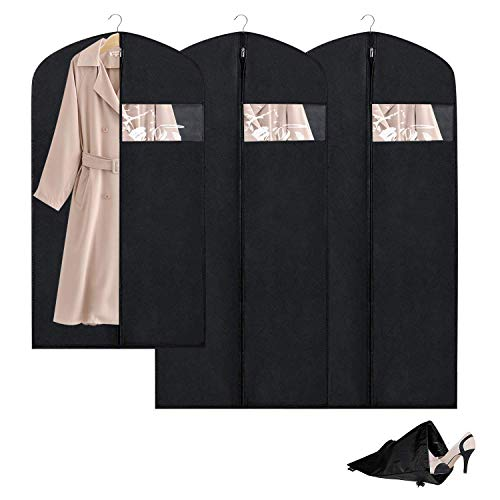 Breathable Garment Bag Clothes Storage Bag Anti-Moth Protector &Dustproof Suit Bag Clear Window Zipper Folding Suits, Tuxedos, Dresses, Coats & More(Set of 3)