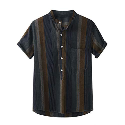 WINJIN Chemise Manche Courte Homme Blouse Hawaïenne Plage Ete T-Shirt Casual Mode Imprimé Rayures Ample Coton et Lin Respirant
