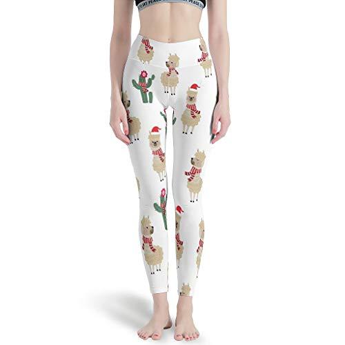 Ballbollbll Animal de Navidad para mujer pantalones de yoga de cintura alta y control de barriga estiramiento para jugar Running leggings, diario ocio blanco xs