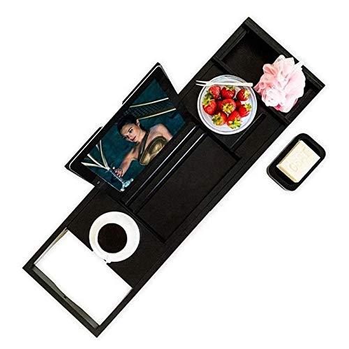 Bandeja de Madera para Baño Bandeja Extensible para Carrito de Bañera Accesorios para Porta Toallas de Baño de Bambú Jabonera para Copa de Vino Adecuada para la Mayoría de Los Baños