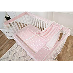 American Baby Company Heavenly Soft Chenille Sherpa Receiving Blanket, Crib Sheet & Changing Pad Cover Set, 3D Pink, for Girls