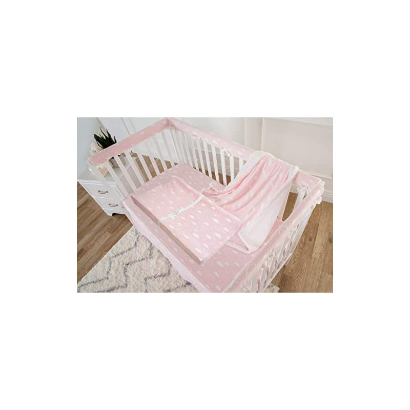 crib bedding and baby bedding american baby company heavenly soft chenille sherpa receiving blanket, crib sheet & changing pad cover set, 3d pink, for girls