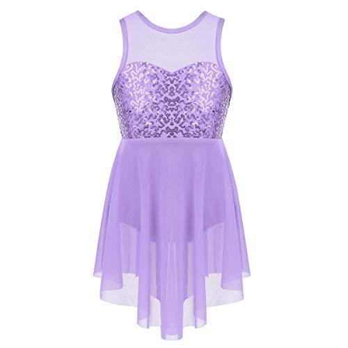 JEATHA Kids Girls Sleeveless Shiny Sequins Irregular Hems Dress X-Back Lyrical Latin Jazz Ballroom Dancewear Lavender 8