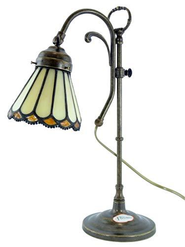 Lampada ottone brunito da tavolo,scrivania stile liberty con vetro stile tiffany sc20 Misure:H 24cm,Ø vetro 13cm,Ø base 14cm.Le misure sono con vetro.Portalampade attacco Edison E14