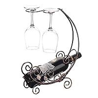ZJN-JN 青銅の金属のワイン自立ワインラックワインホルダーを飾り1本のワインボトル/ 2ワイングラスラック杯ストレージディスプレイスタンドの家の装飾