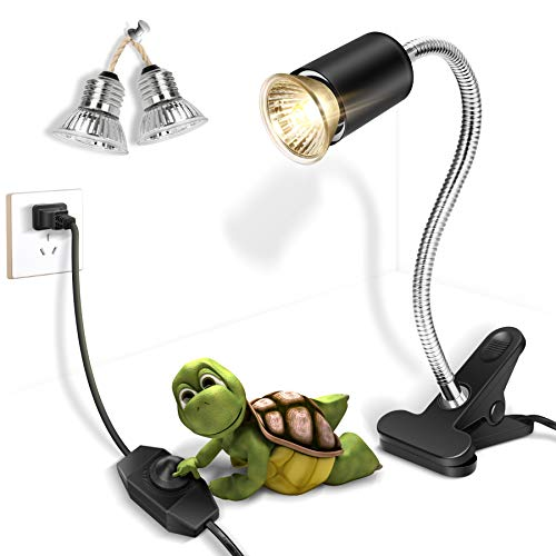 Fischuel Reptile UV Bulb,Heating Lamp with Clamp, Adjustable Habitat Basking Heat Lamp ,UVA/UVB Light Lamp 360° Rotatable Clip and Dimmable Switch for Aquarium(Bulb Included) (E27,110V)