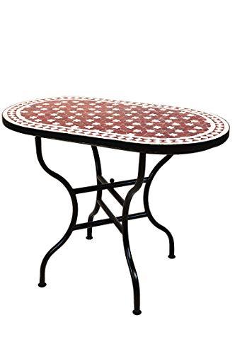 Marokkanischer Mosaiktisch Gartentisch 100x60cm Groß eckig klappbar | Eckiger klappbarer Mosaik Esstisch Mediterran | als Klapptisch für Balkon oder Garten | Estrella Bordeaux Weiß 100x60cm