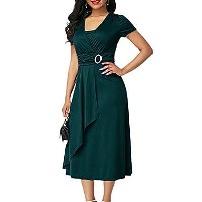 W-Fight Womens Plus Size Short Sleeve Midi Long Evening Dress High Waist Party Dress
