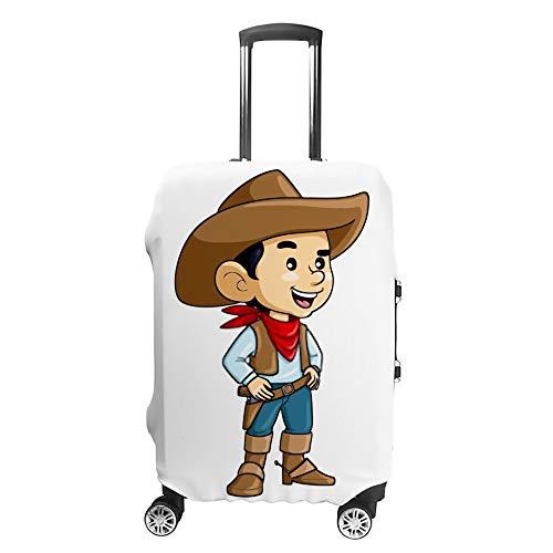 Chehong Reisekoffer-Abdeckung, Cartoon, niedlich, Cowboy, Kinder, waschbar, staubdicht, wasserdicht, Polyester, passend für 45,7–81,3 cm
