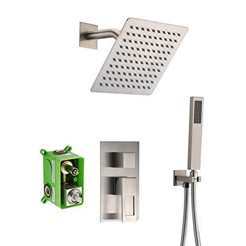 Duschsystem, komplett aus Metall Duschsysteme 10 Zoll vorinstallierte Ventilkörper Handbrause, Regenduschsystem aus gebürstetem Nickel Luxus-Duschset