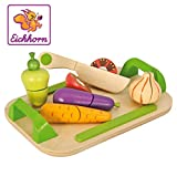 Eichhorn 100003722 - Schneidebrett mit Gemüse, 26 x 16,5 cm, 12-tlg., Schneidegemüse aus Holz mit Klett-Verbindung, Eichenholz, Birkenholz