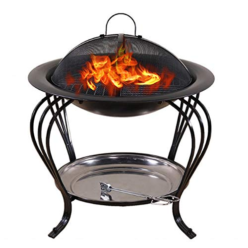 YUNSHAO Fire Bowl Diameter 40 cm,Removable Metal Fire Basket with Fire Fork, Patio Garden Multifunctional Fire Pit for Heating/BBQ with Small Device to Install