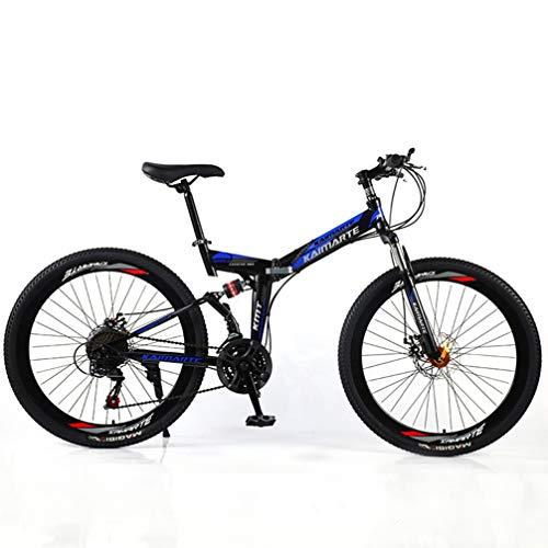 YUKM Rayo Rueda 3-Velocidad de conversión de Bicicletas de montaña, Plegable portátil Fuera de la Bicicleta de Carretera, Cinco Colores, Apto para Hombres y Mujeres,Azul,26 Inch 27 Speed