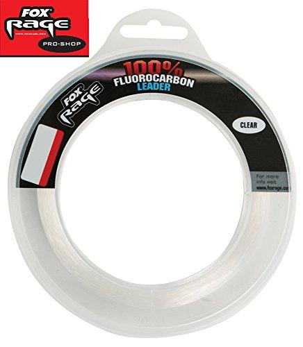 Fox Rage Fluorocarbon Schnur Leaders 0,90mm 36kg 25m, Fluocarbon Schnur, Vorfachschnur zum Spinnfischen, Angelschnur monofil, Hechtvorfach
