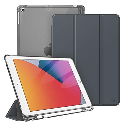 Fintie Hülle für iPad 8. Generation (2020) / 7. Gen (2019) 10.2 Zoll mit Pencil Halter, Superdünn Leichte Schutzhülle mit durchsichtiger Rückseite Abdeckung mit Auto Schlaf/Weck, Himmelgrau