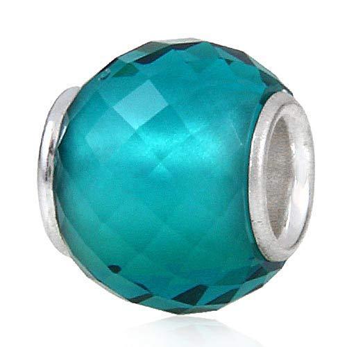 Colgante de plata de ley 925 de Murano Lampwork de cristal de la piedra natal encanto del cumpleaños del encanto del aniversario para la pulsera del encanto de Pandora … (verde claro)